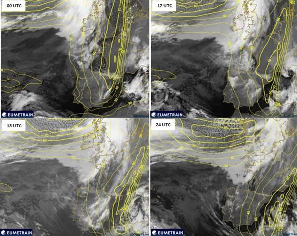 Figura 7. Evolució temporal del màxim de vent a 300 hPa (isolínies grogues) superposades amb les imatges del meteosat MSG del canal infraroig (10.8 µm)