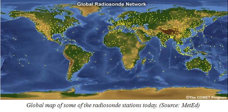 Imatge del mapa del món amb els radiosondatges a nivell mundial