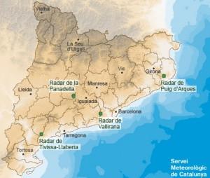 Mapa de Catalunya amb la situació dels radars meteorològics