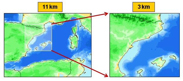Dominis d'11 i 3 km del model d'onatge WAM