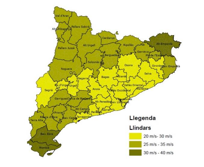 Mapa de Catalunya amb la representació del llindar de vent per comarques