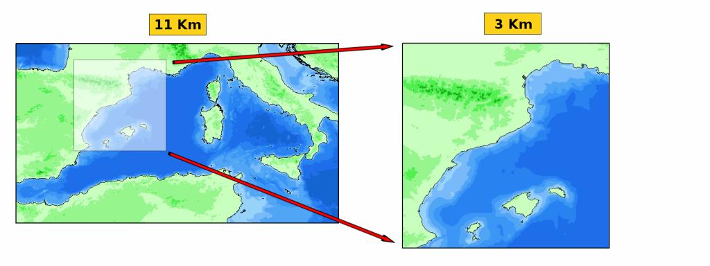 Dominis d'11 i 3 km del model d'onatge SWAN