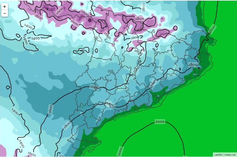 Temperatura a 2 metres i isozero del model WRF a 3 km