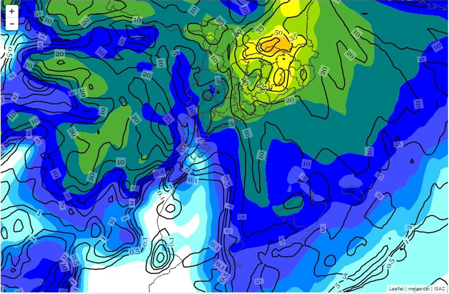 Comparació de la precipitació entre els models WRF de 9 km i BOLAM