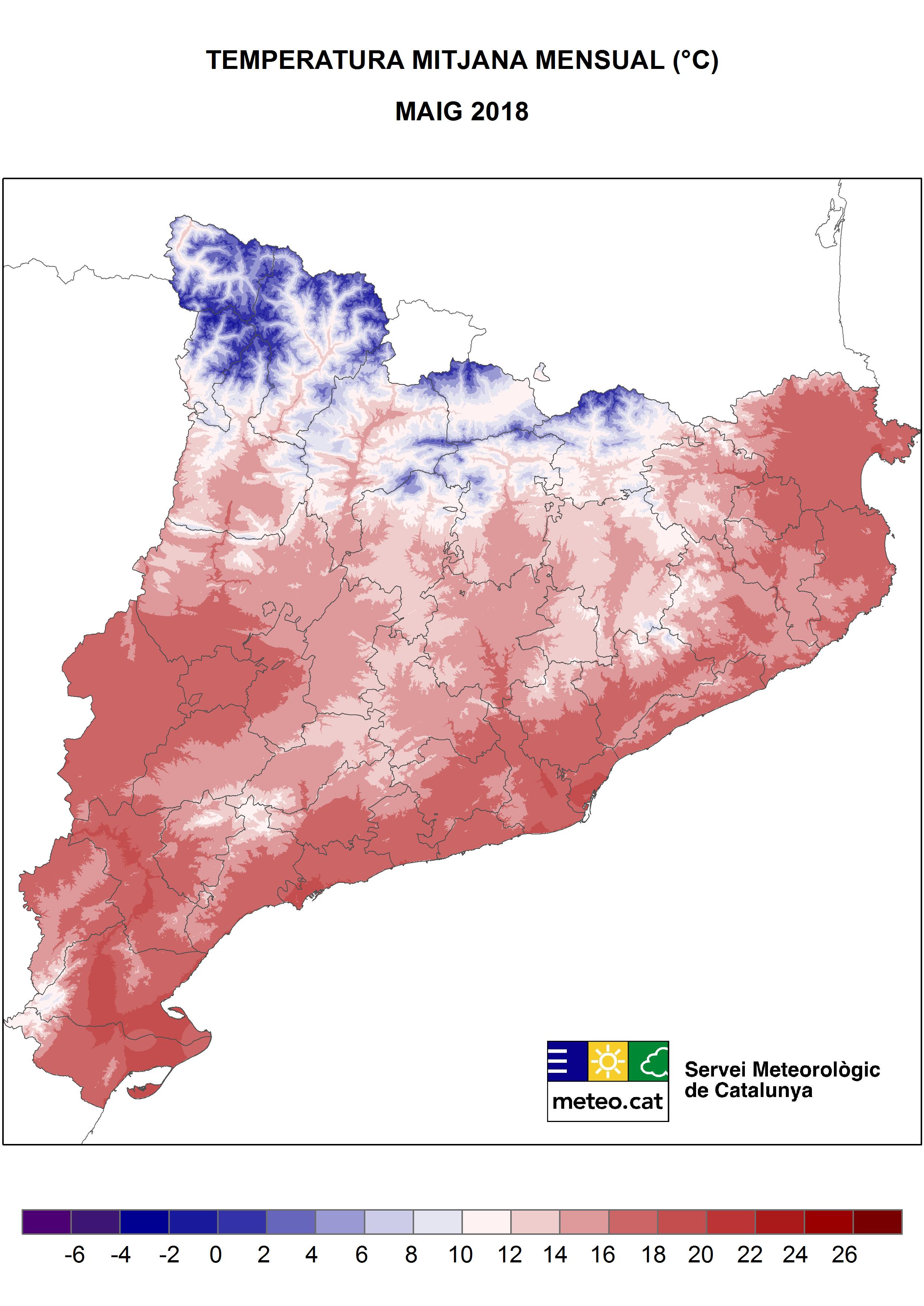 Mapa de Temperatura mitjana mensual (ªC) - Maig 2018