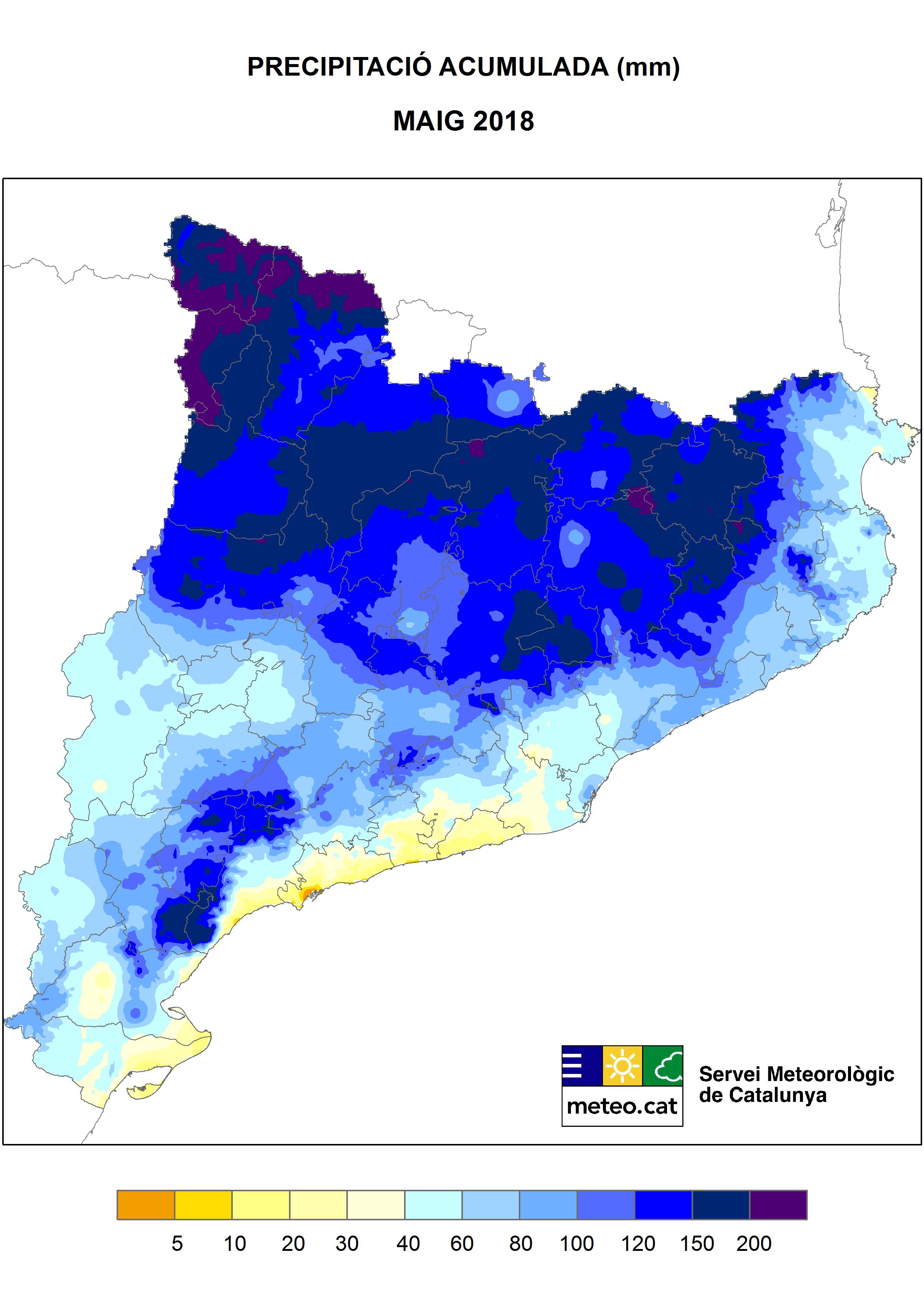 Mapa de Precipitació acumulada (mm) - Maig 2018