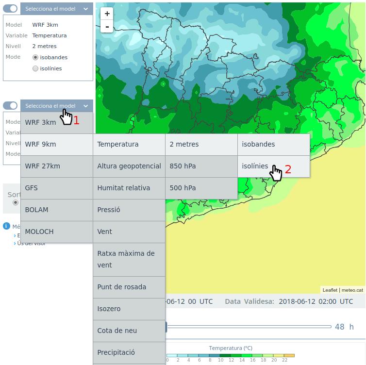 Pantalla del visor amb indicacions visuals d'on es troba la selecció de models i variables