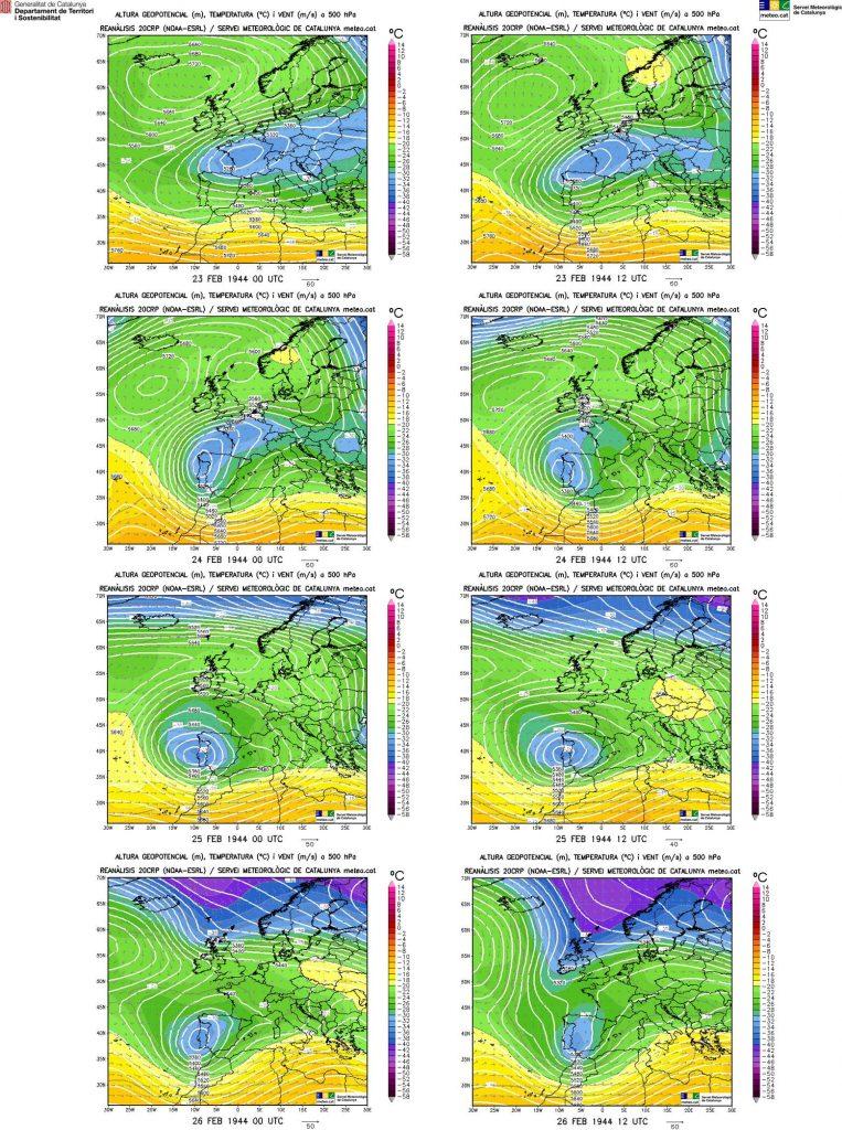 Mapes de les reanàlisis de les topografies a 500 hectopascals del 23 al 26 de febrer de 1944