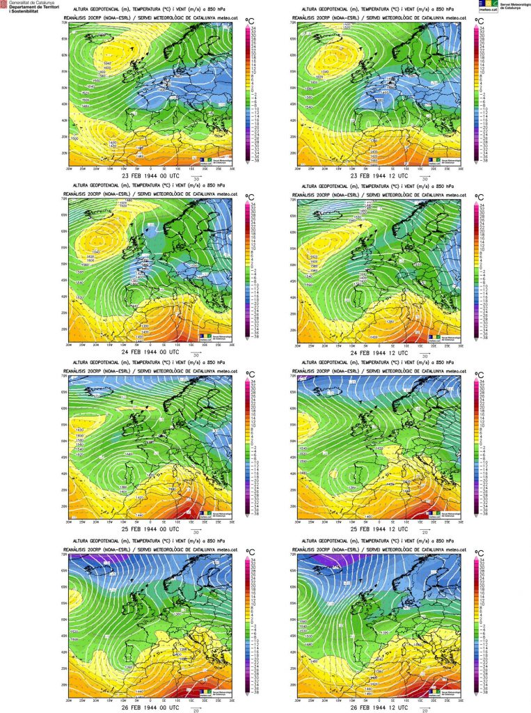 Mapes de les reanàlisis de les topografies a 850 hectopascals del 23 al 26 de febrer de 1944