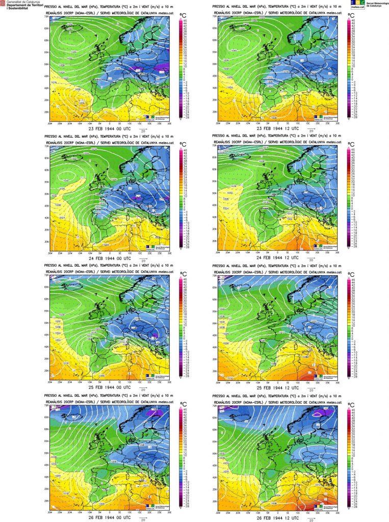 Mapes de les reanàlisis en superfície del 23 al 26 de febrer de 1944 a les 00 i 12 UTC