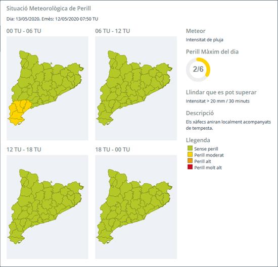 informe d'avís SMP per intensitat de pluja, emès el dia 13 de maig de 2020 amb un perill màxim de 2 sobre 6 (groc)