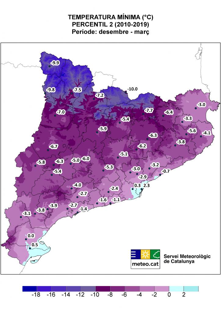 Mapa de Catalunya amb la representació del percentil 2 de temperatura mínima