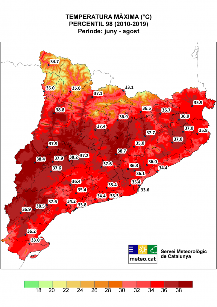 Mapa de Catalunya amb la representació del percentil 98 de temperatura màxima