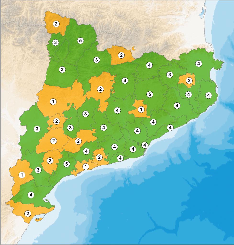 Mapa de Catalunya amb la representació dels nombre de vigilants per comarca