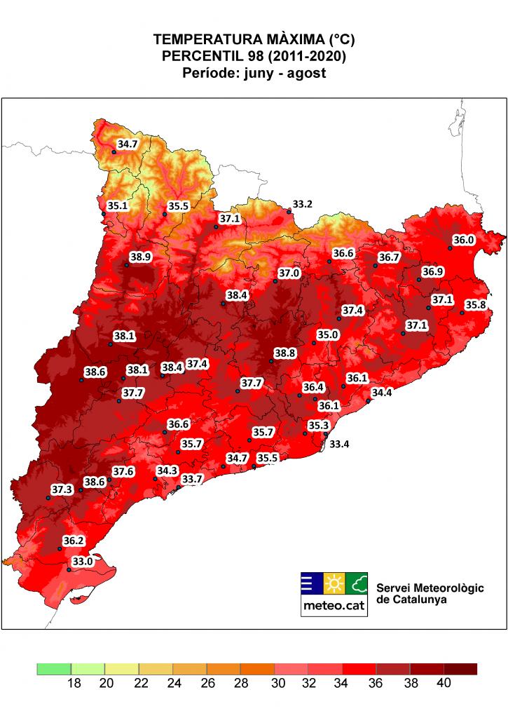 Mapa de Catalunya amb la representació del percentil 98 de temperatura màximaa