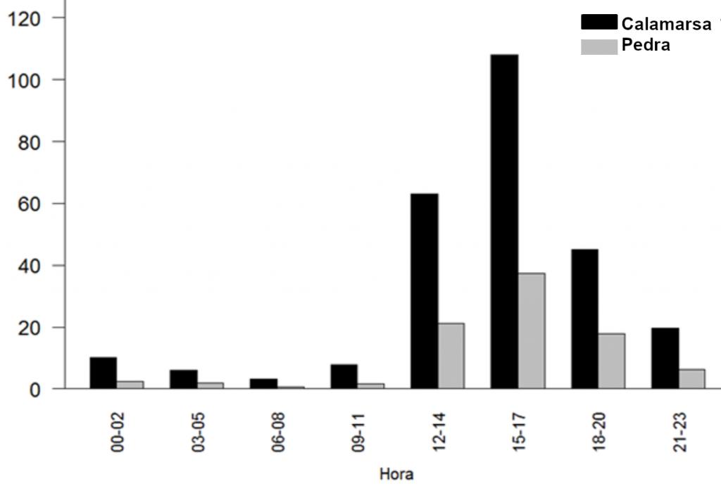 Distribució horària al llarg d'un dia dels casos de calamarsa i pedra registrats a partir de l'any 2017