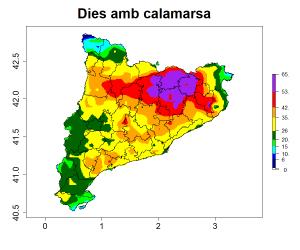 Distribució geogràfica a Catalunya dels casos de calamarsa