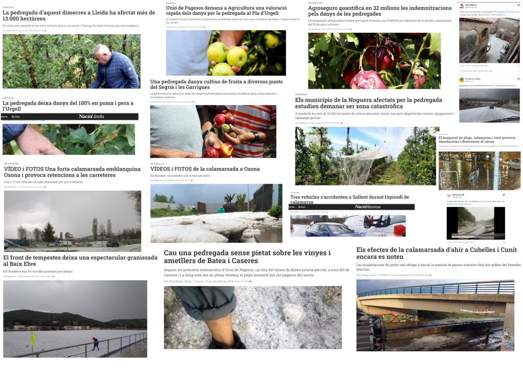 Titulars de la premsa que parlen de les conseqüències de les calamarsades i pedregades.