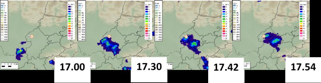 Imatges RADAR amb l'evolució de la tempesta sobre el granímetre de Raïmat.