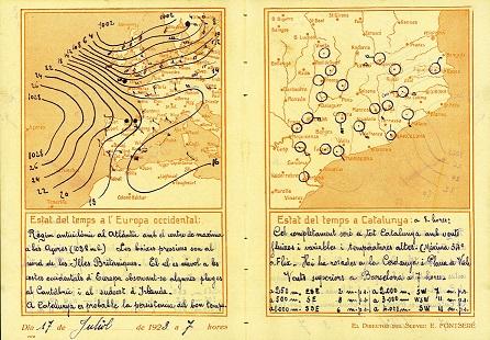 Exemple de carta del temps del 1923